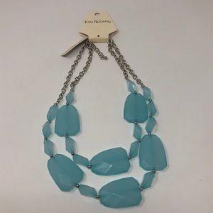 Kim Rogers Lucite Stone Blue Aqua Necklace